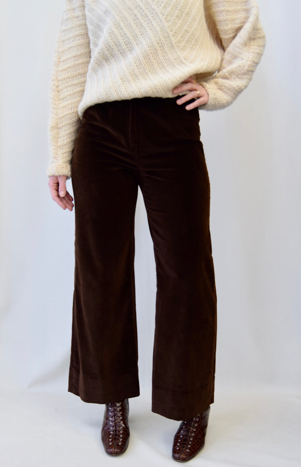 Vintage Chocolate Velvet Wide Leg Trousers