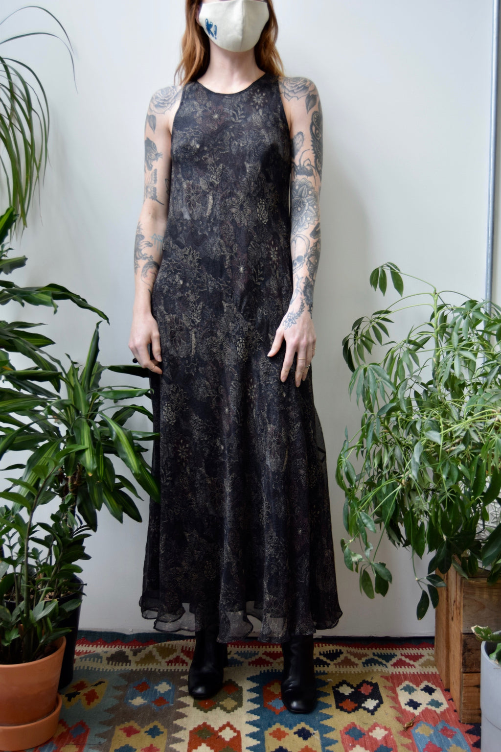 Nineties Black Gauzy Silk Dress