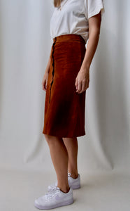 Seventies Cinnamon Suede Snap Front Skirt