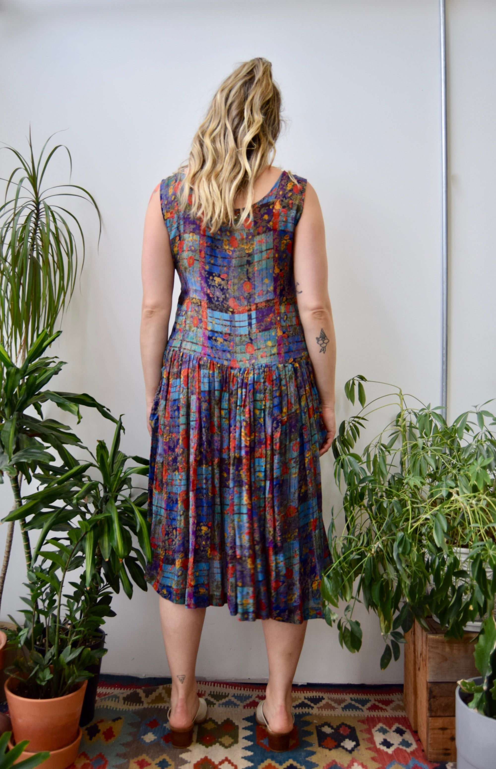 Nineties Rayon Plaid Floral Dress