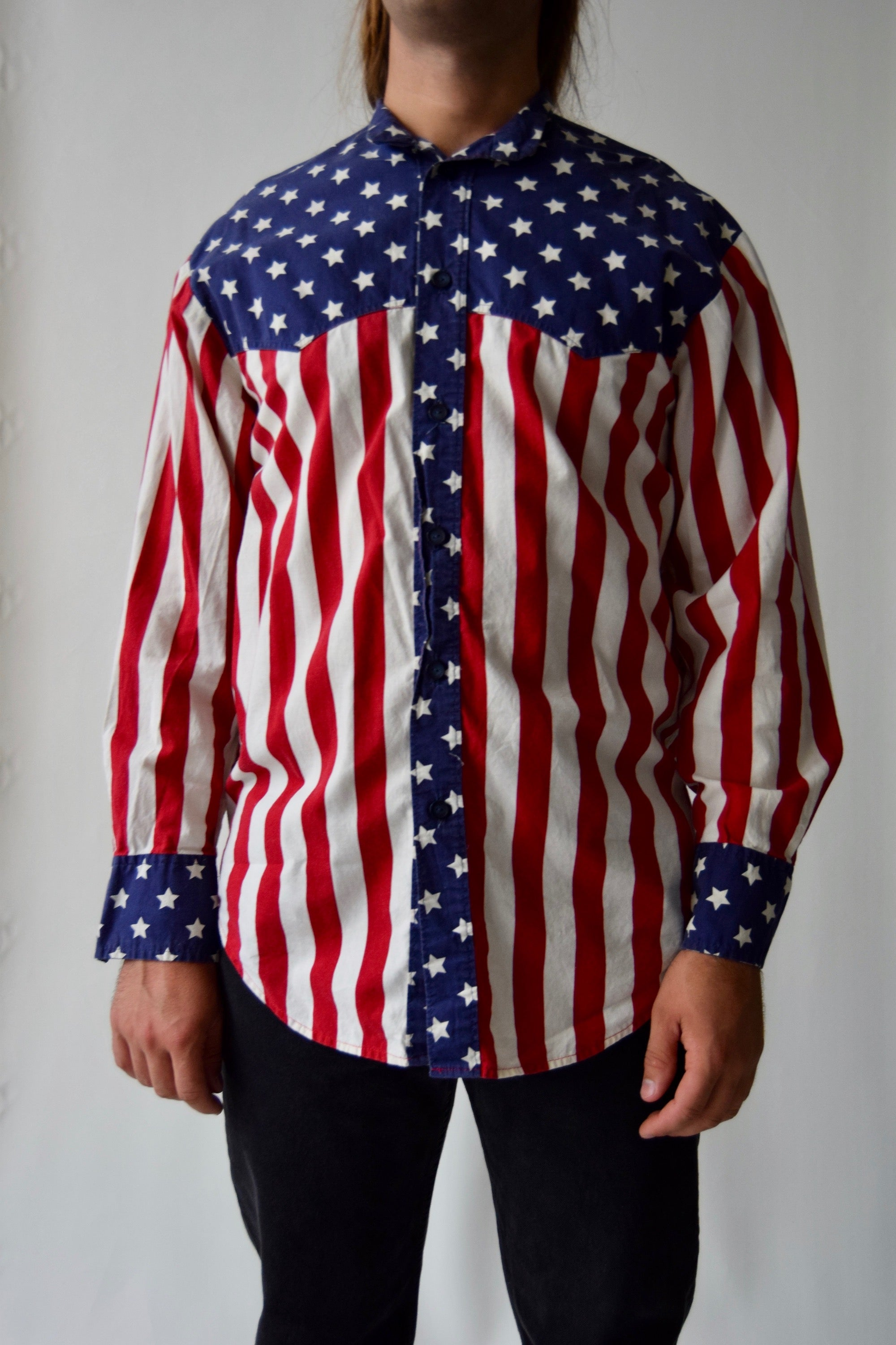 Vintage American Flag Men's Button Up FREE SHIPPING