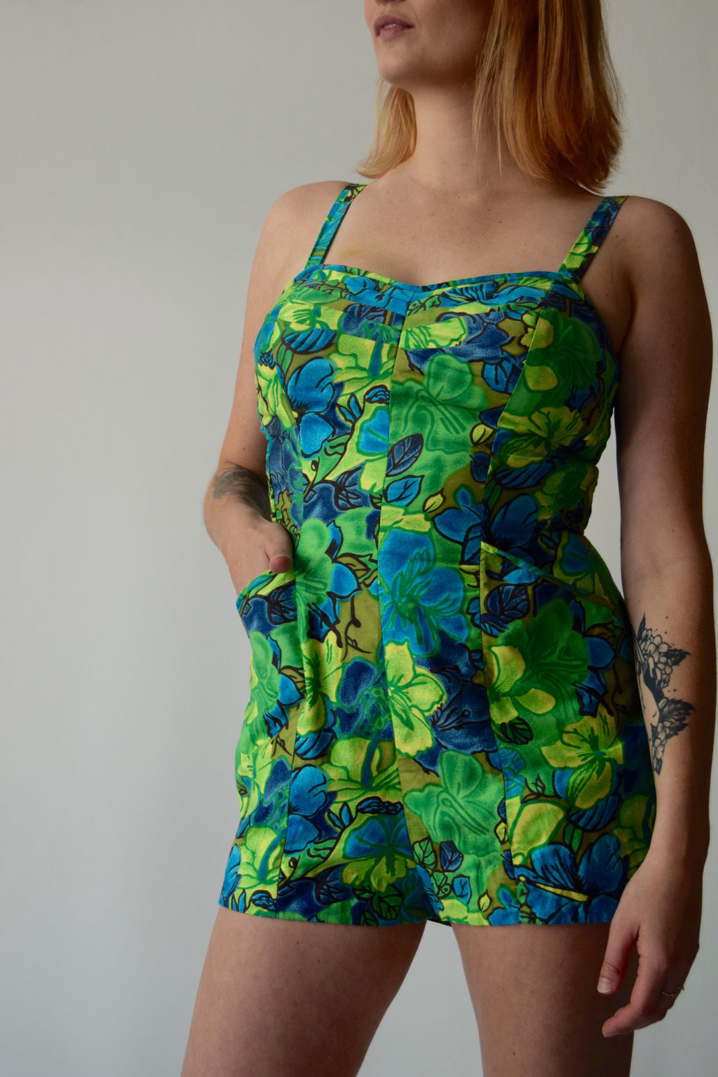 Vintage 1960's Hawaiian Floral Beach Cotton Playsuit