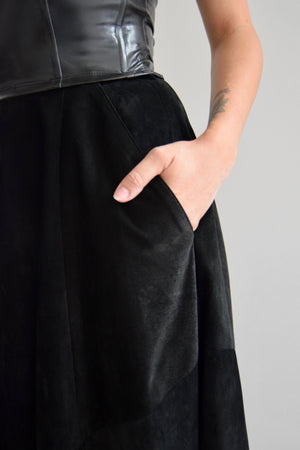 Vintage Deep Black Suede Midi Skirt