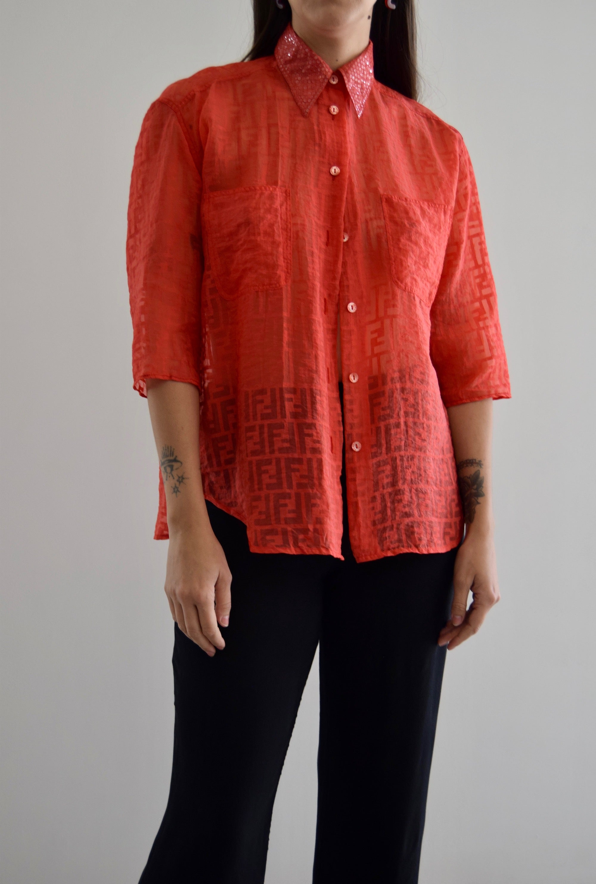 Fendi Zucca Print Electric Coral Sequin Blouse FREE SHIPPING
