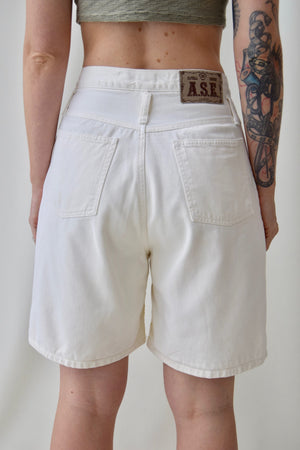 Cream Relaxed Fit Denim Shorts
