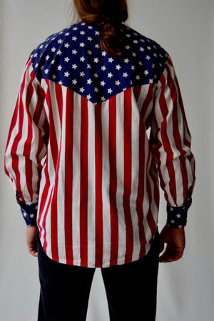 Vintage American Flag Men's Button Up