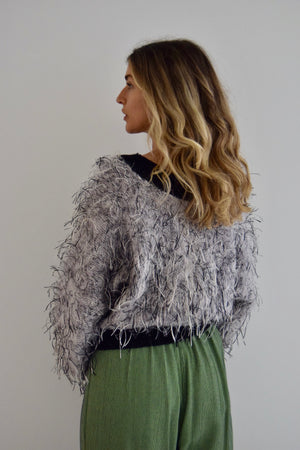 Silver Mauve Mohair Cropped Sweater