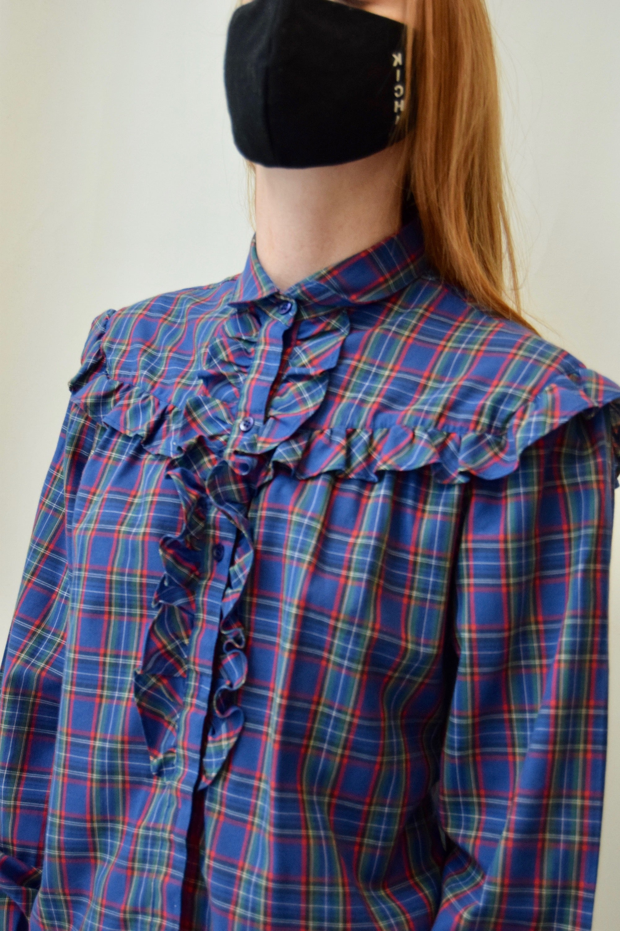 Plaid Ruffle Button Up
