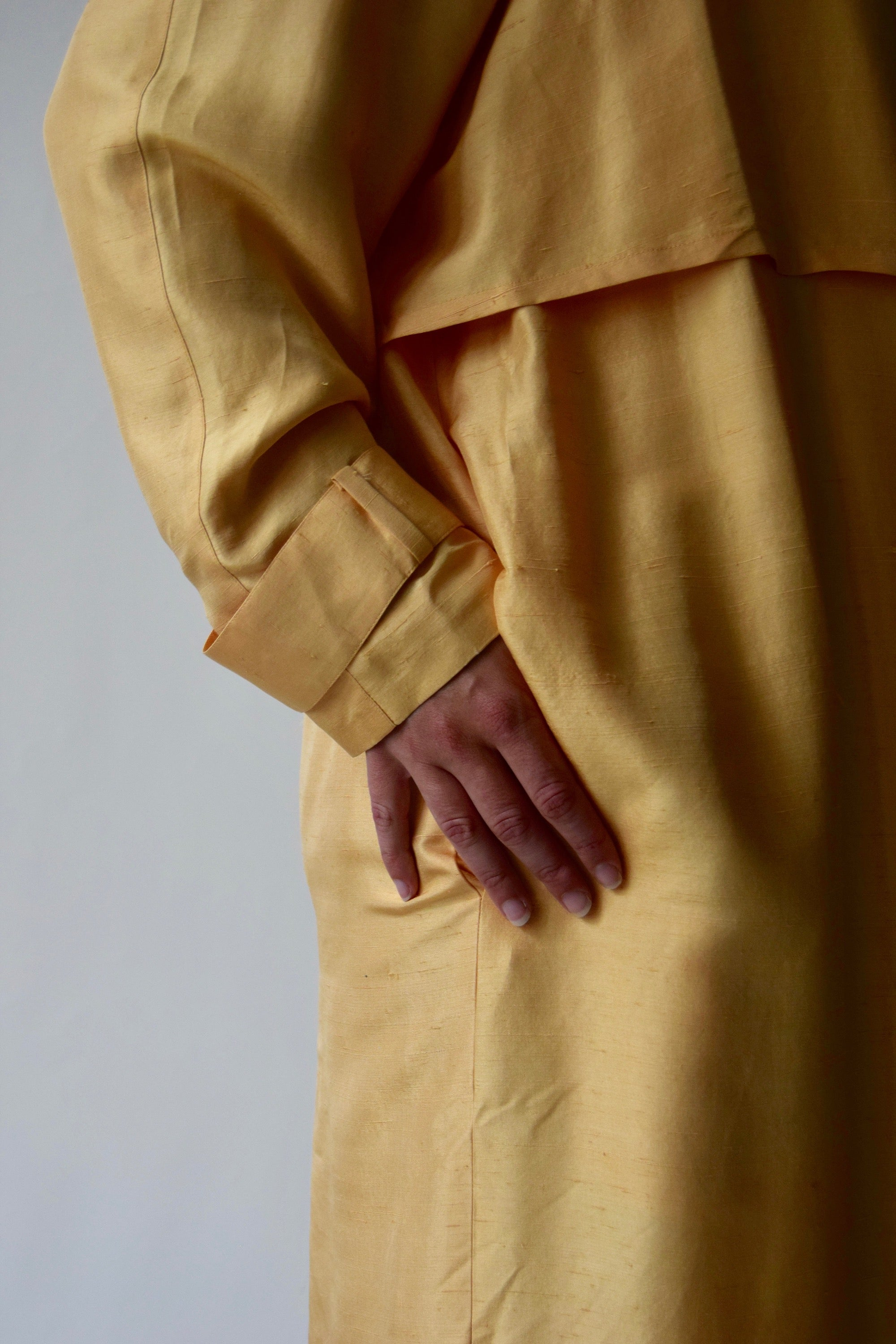 Golden Yellow Raw Silk Duster Trench Coat
