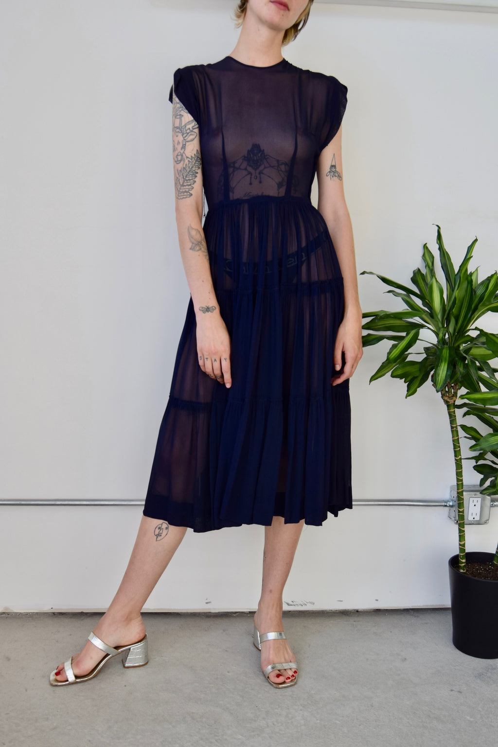 Vintage Sheer Navy Party Dress