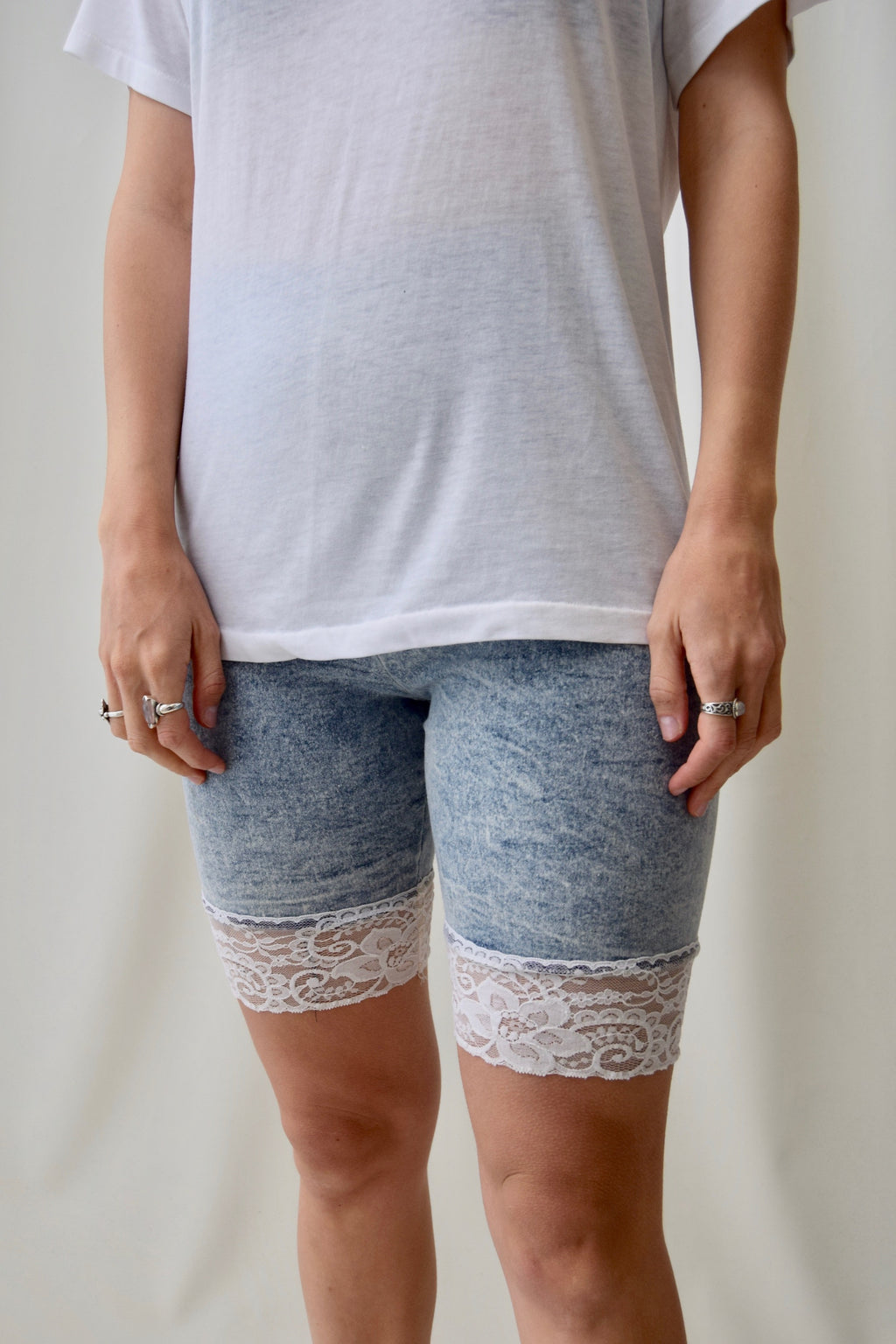 Acid Wash Lace Bike Shorts