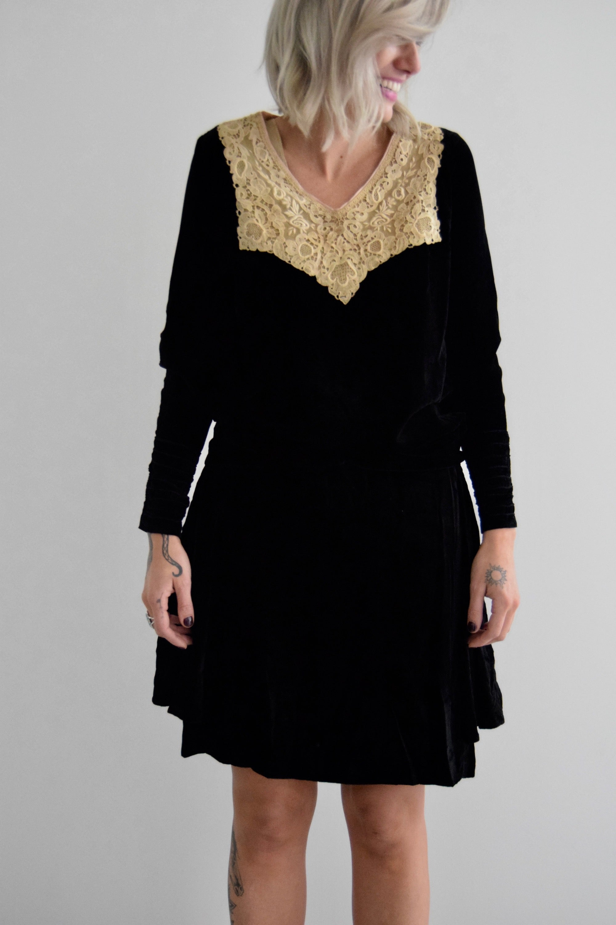Vintage 1920's Black Velvet Drop Waist Dress