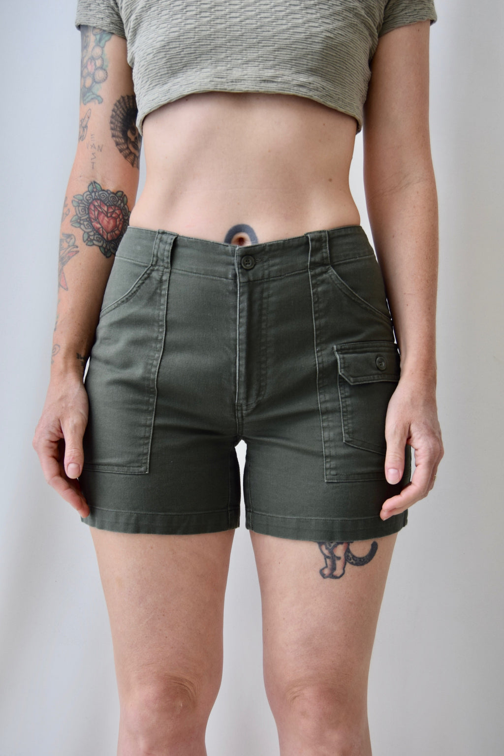 Army Green Cargo Shorts