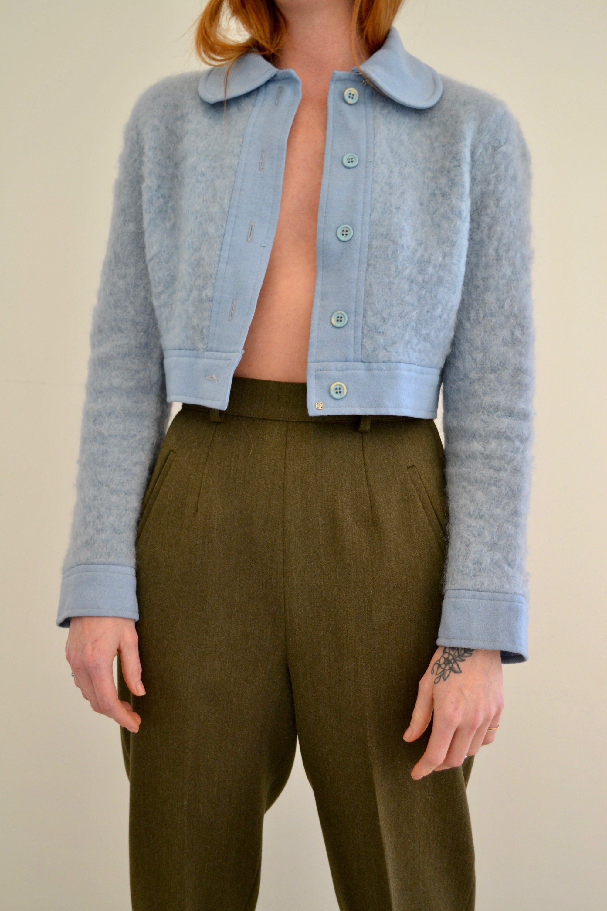 1970's Robins Egg Blue Cropped Wool Jacket