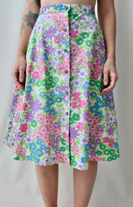 1970's Button Front Garden Skirt