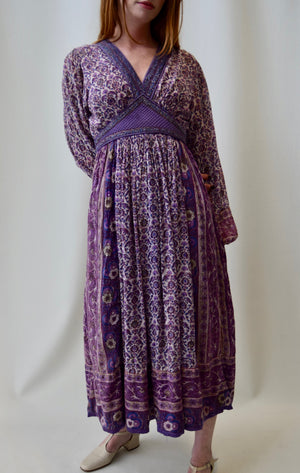 "Vintage 1970's ""Papillon"" Indian Gauze Cotton Dress FREE SHIPPING TO THE U.S."
