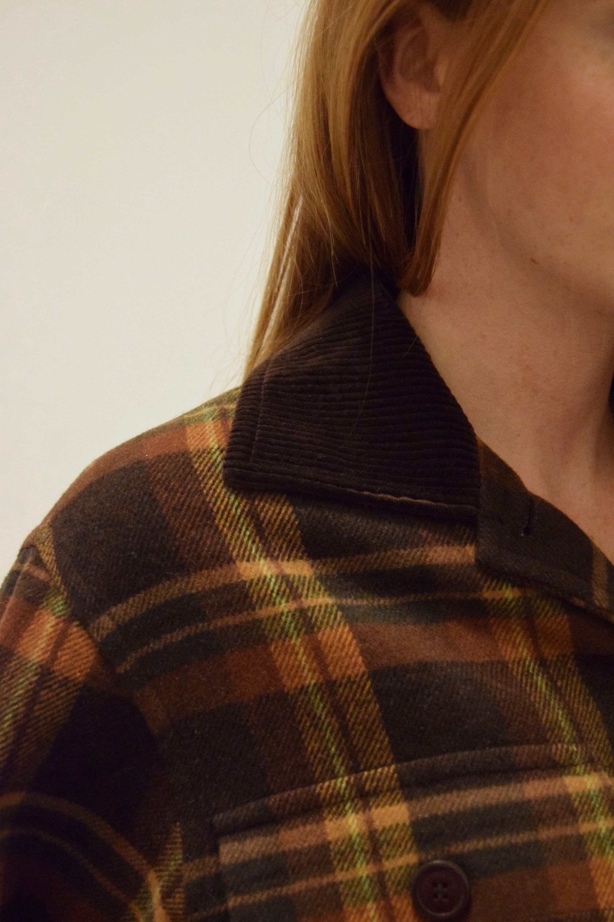 Square Cut Brown Plaid Wool Jacket FREE SHIPPING TO THE U.S.