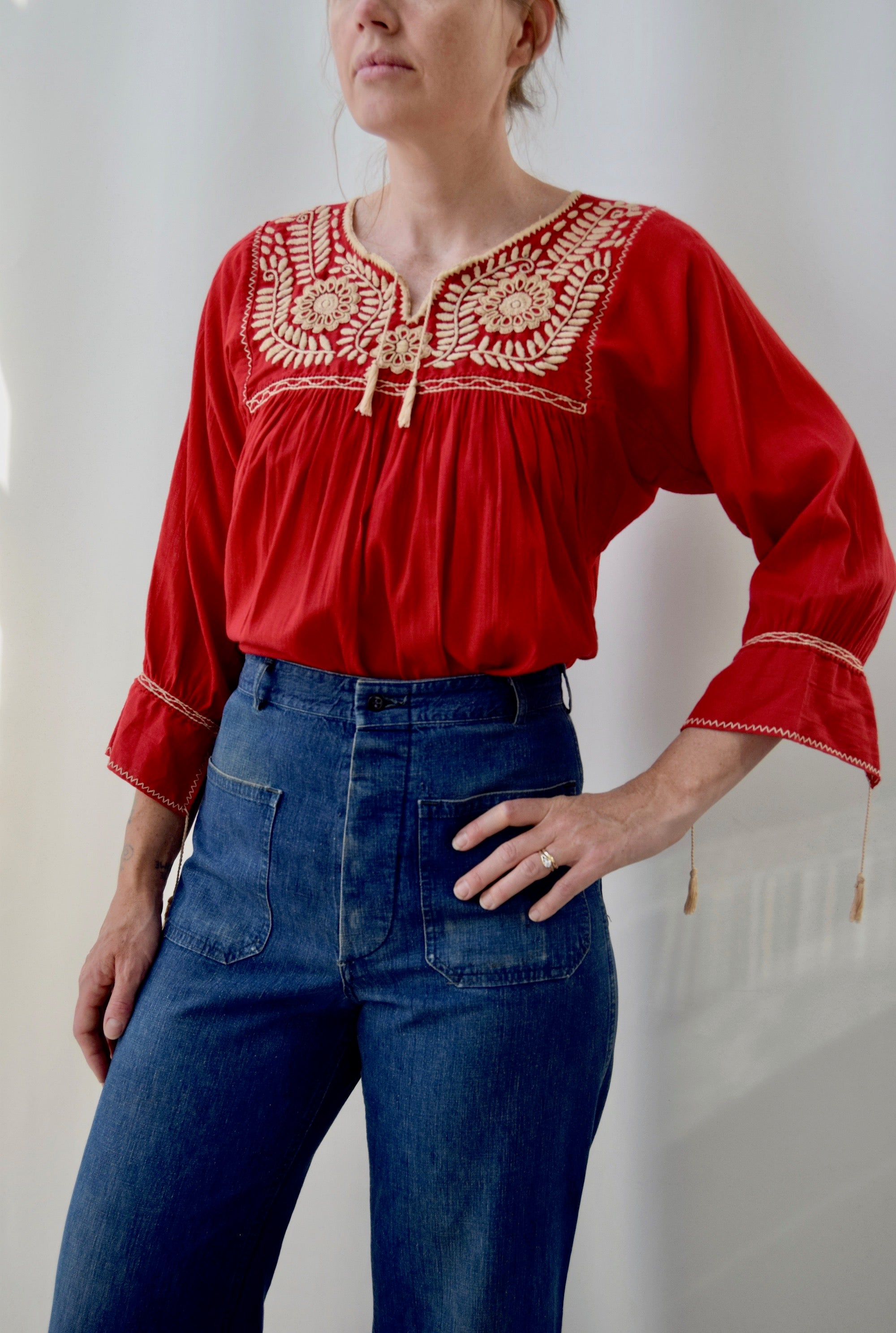 Crimson Red Embroidered Top