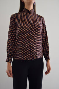 80's Anne Crimmins for UMI Printed Silk Blouse FREE SHIPPING