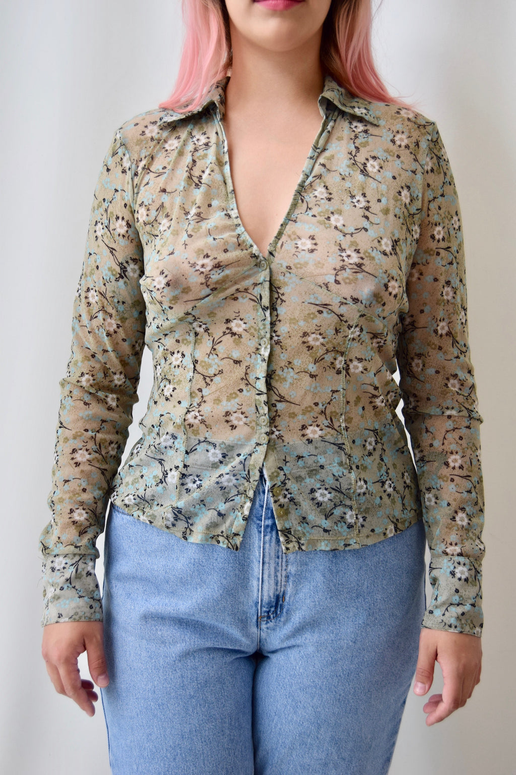 Moss Mesh Floral Top
