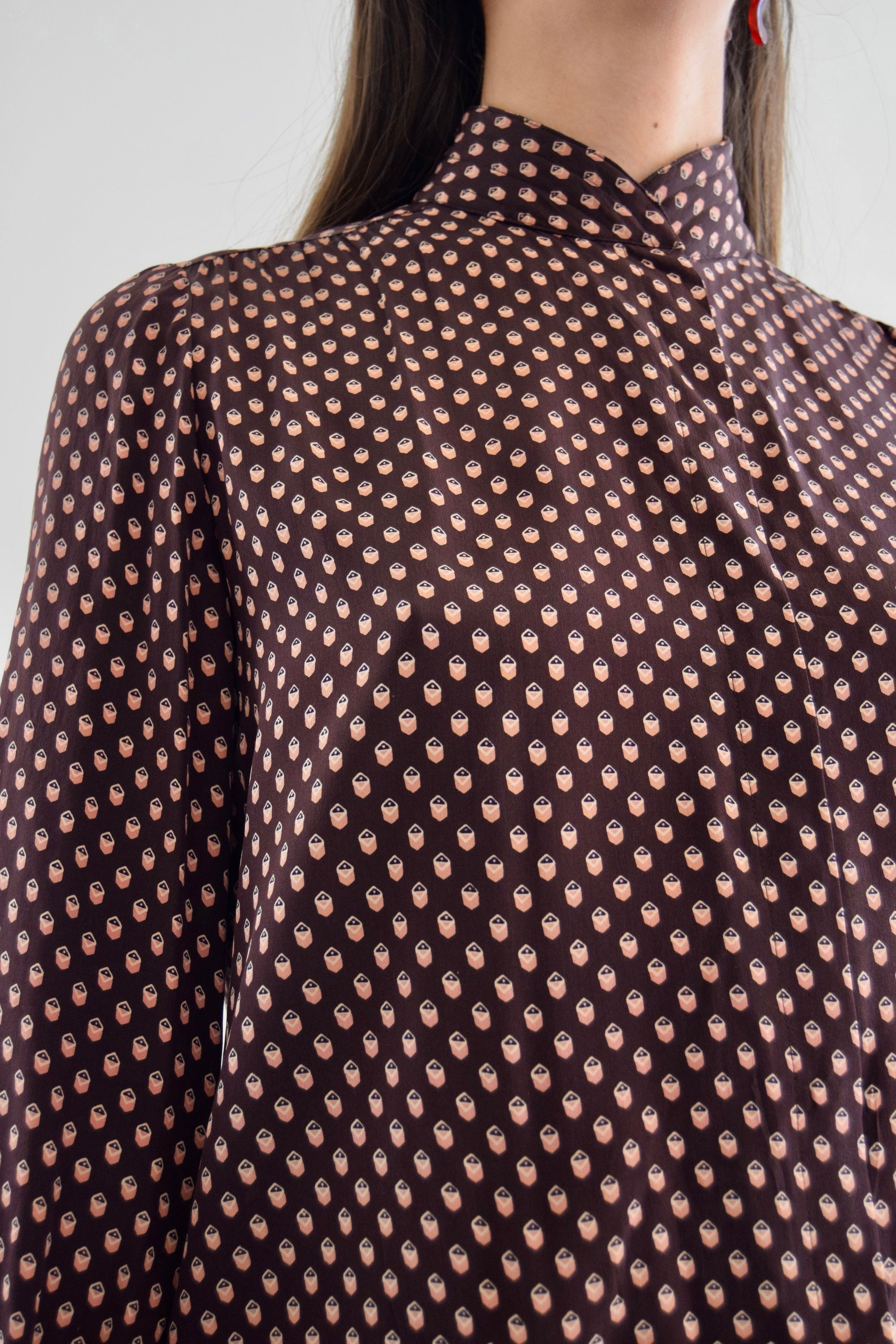 80's Anne Crimmins for UMI Printed Silk Blouse FREE SHIPPING TO U.S.