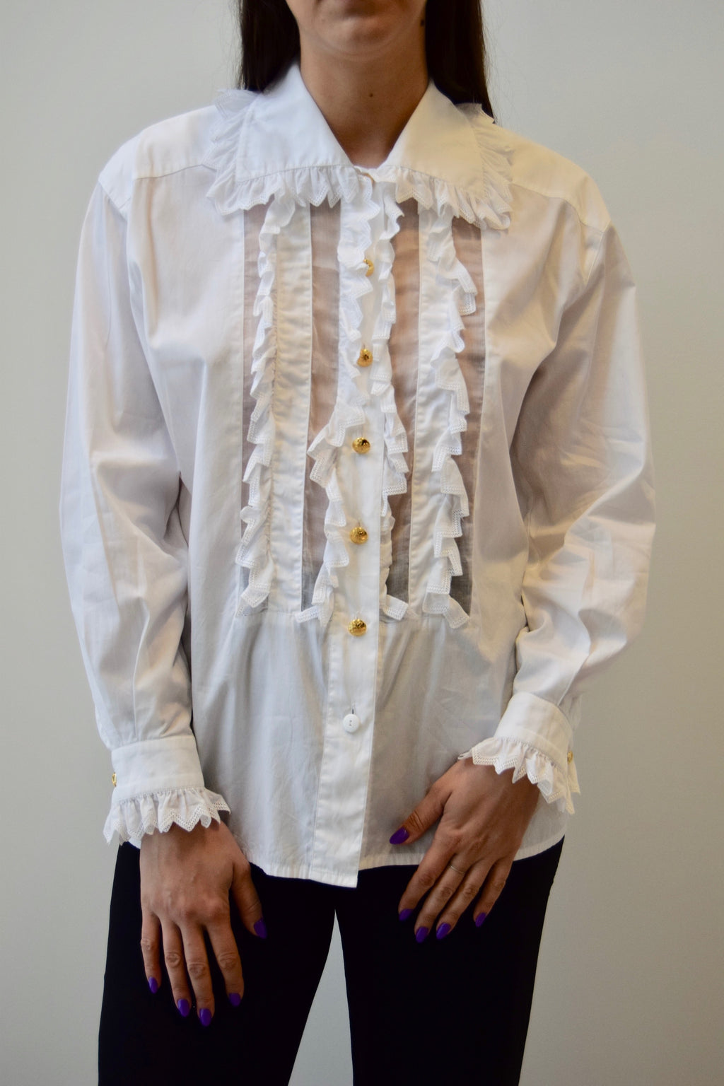 Cotton Escada Sheer Panel Ruffle Blouse