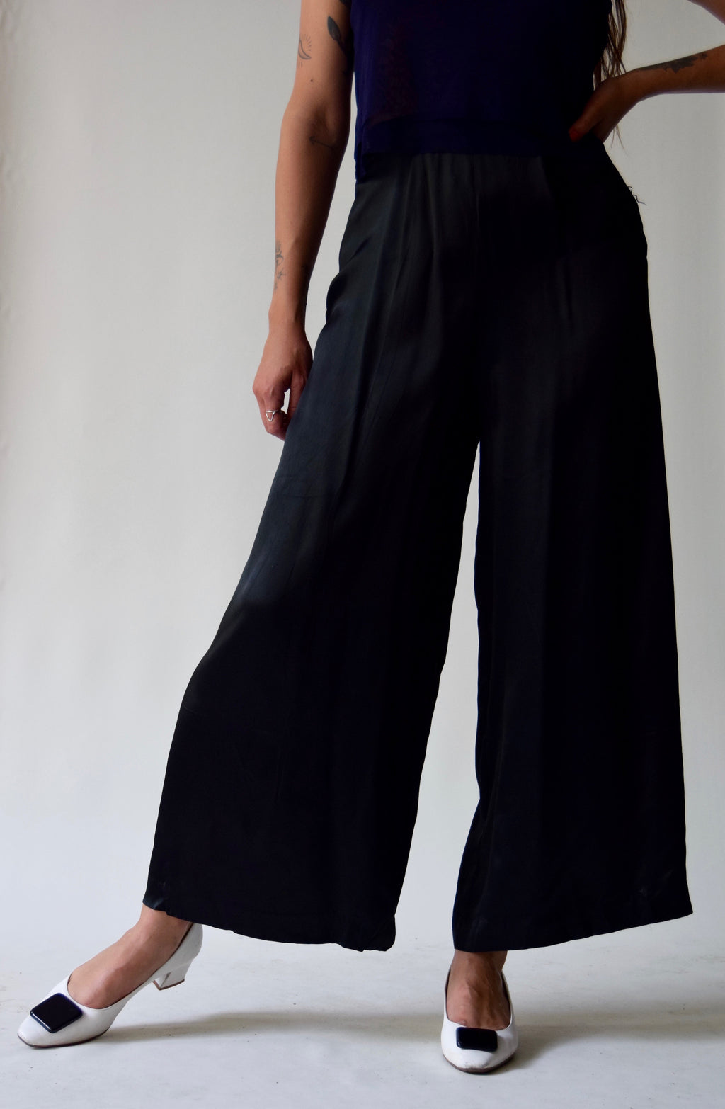 Vintage Black Satin Wide Leg Trousers