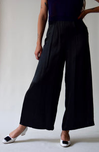 Vintage Black Satin Wide Leg Trousers FREE SHIPPING