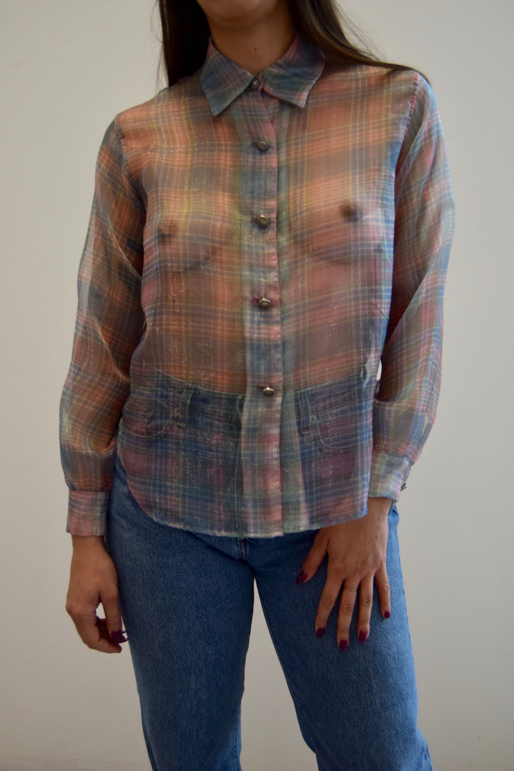 Sheer Pastel Plaid Top FREE SHIPPING TO THE U.S.