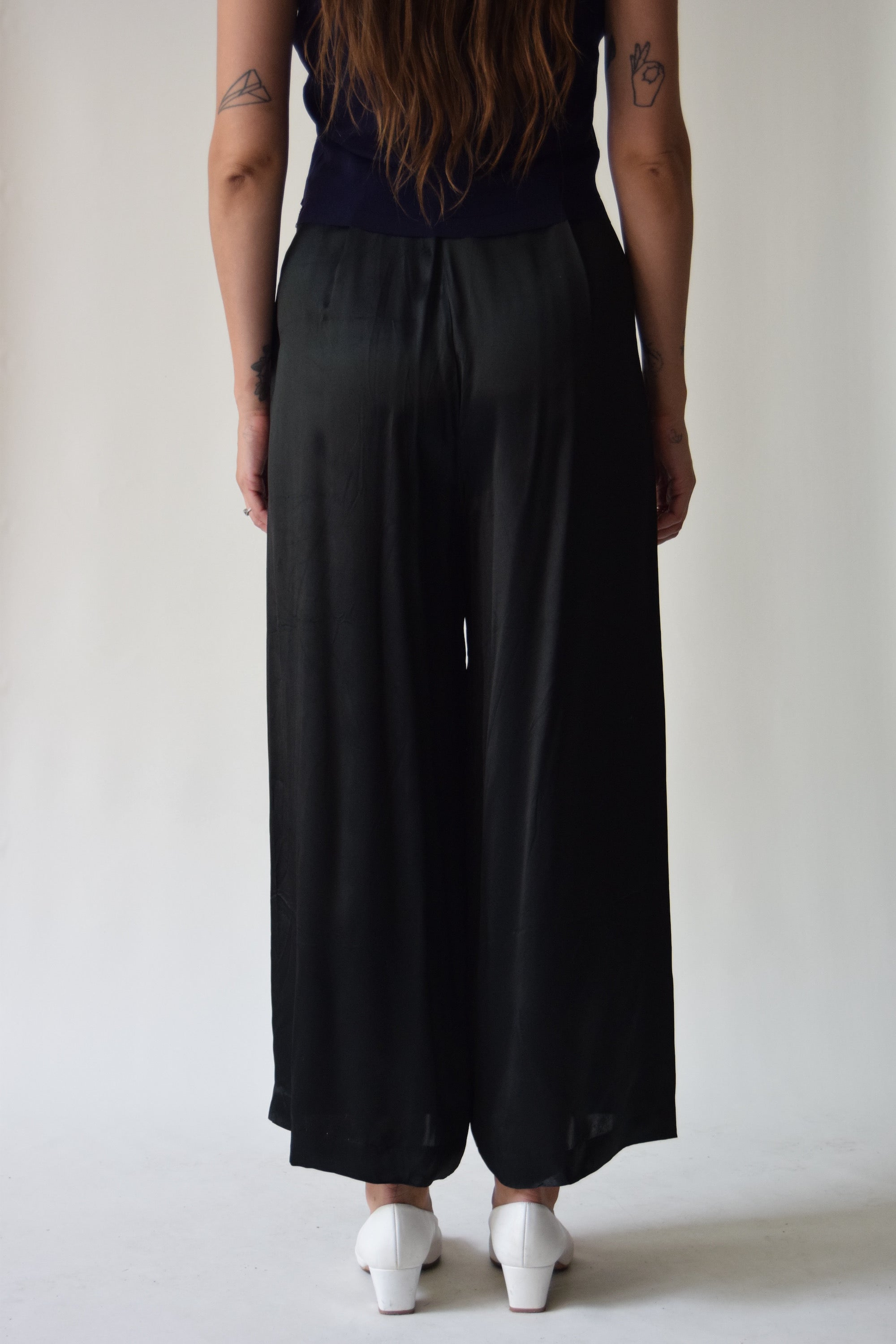 Vintage Black Satin Wide Leg Trousers FREE SHIPPING TO THE U.S.