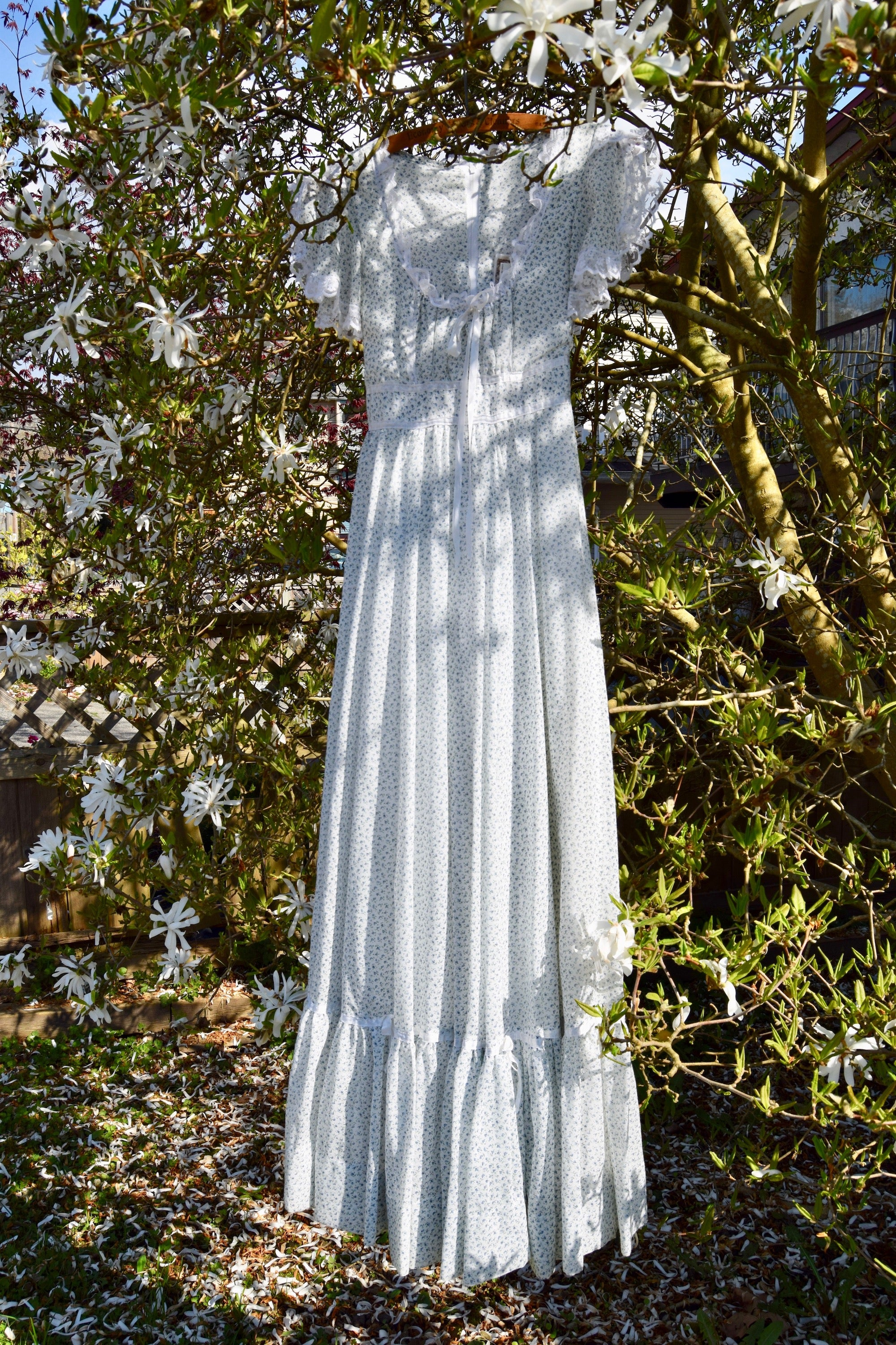 "1970's Blue Wildflower ""Gunne Sax"" Maxi Dress"