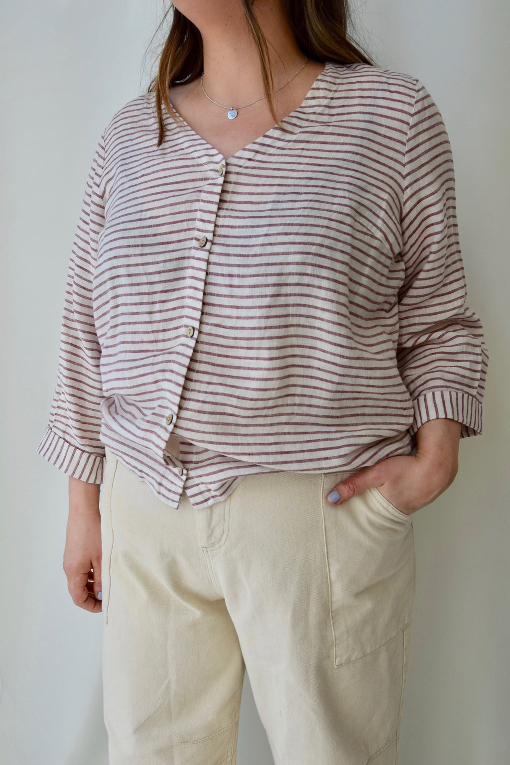 Striped Linen Cropped Sleeve Top