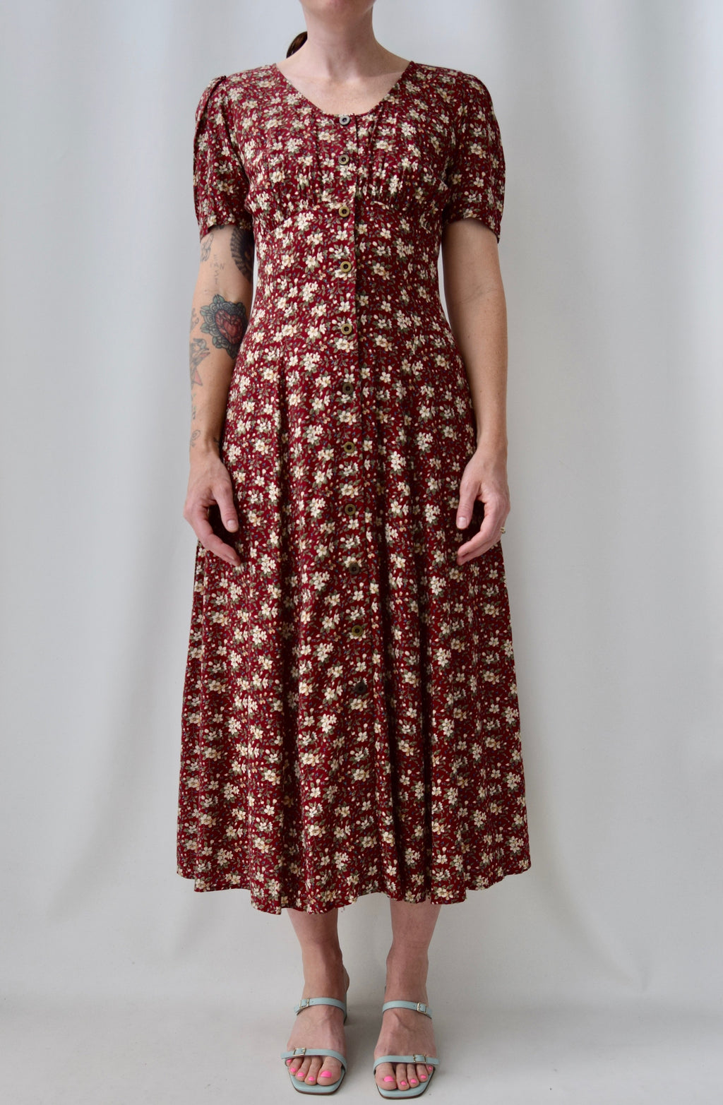 "90's ""All That Jazz"" Floral Wine Dress"