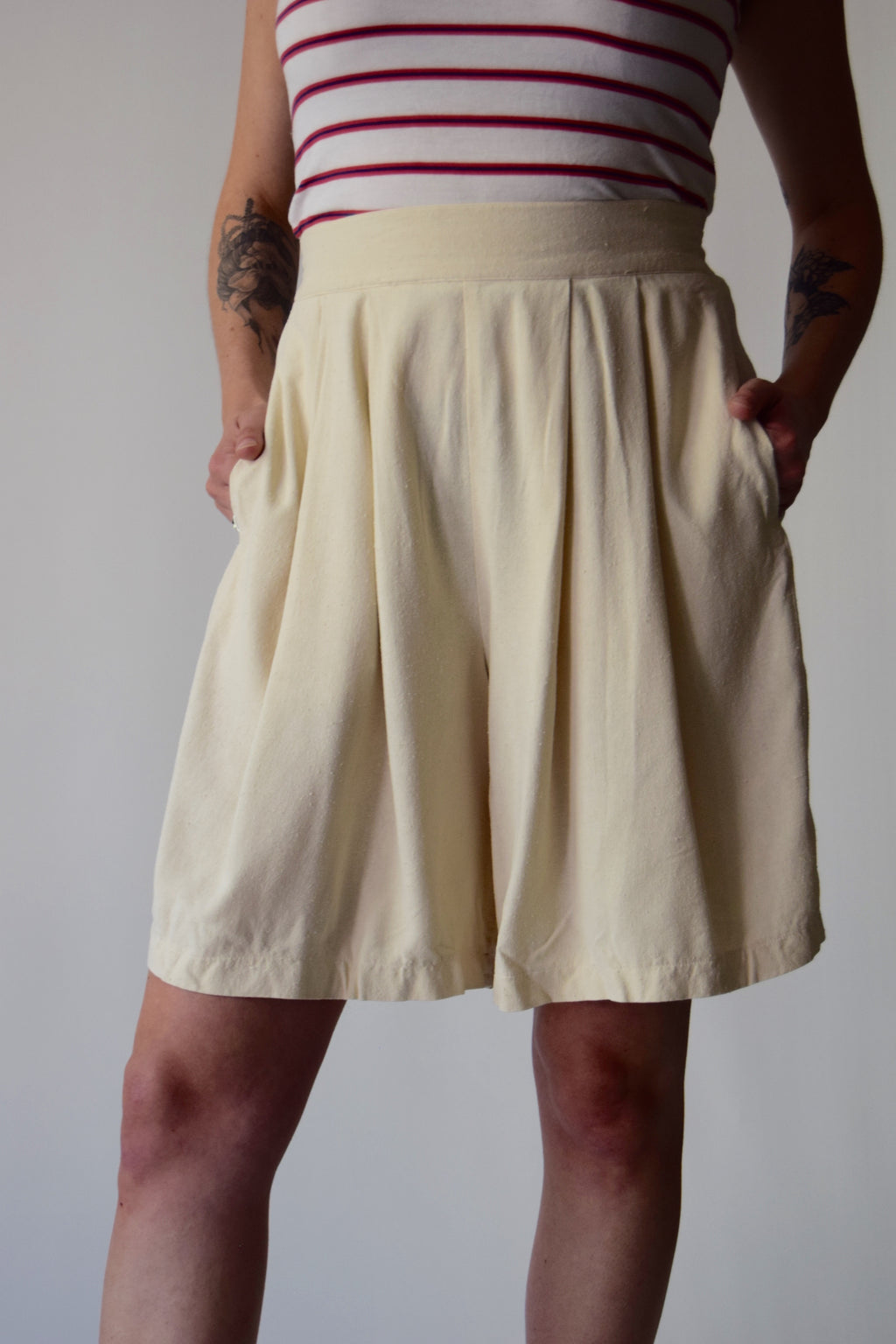 Ivory Silk High Waisted Shorts FREE SHIPPING TO THE U.S.