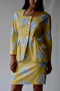 Escada 2 Piece Yellow Hibiscus Skirt and Jacket Set
