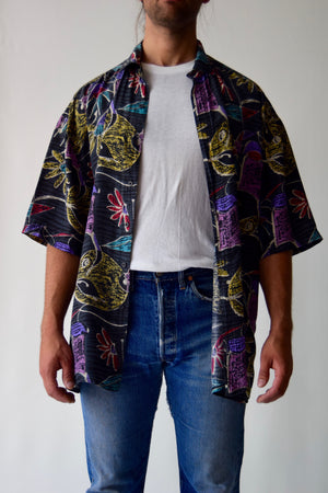 Vintage Men's Abstract Floral Silk Button Up Shirt FREE SHIPPING TO THE U.S.