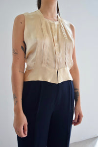 Vintage Dusty Gold Silky Sleeveless Top