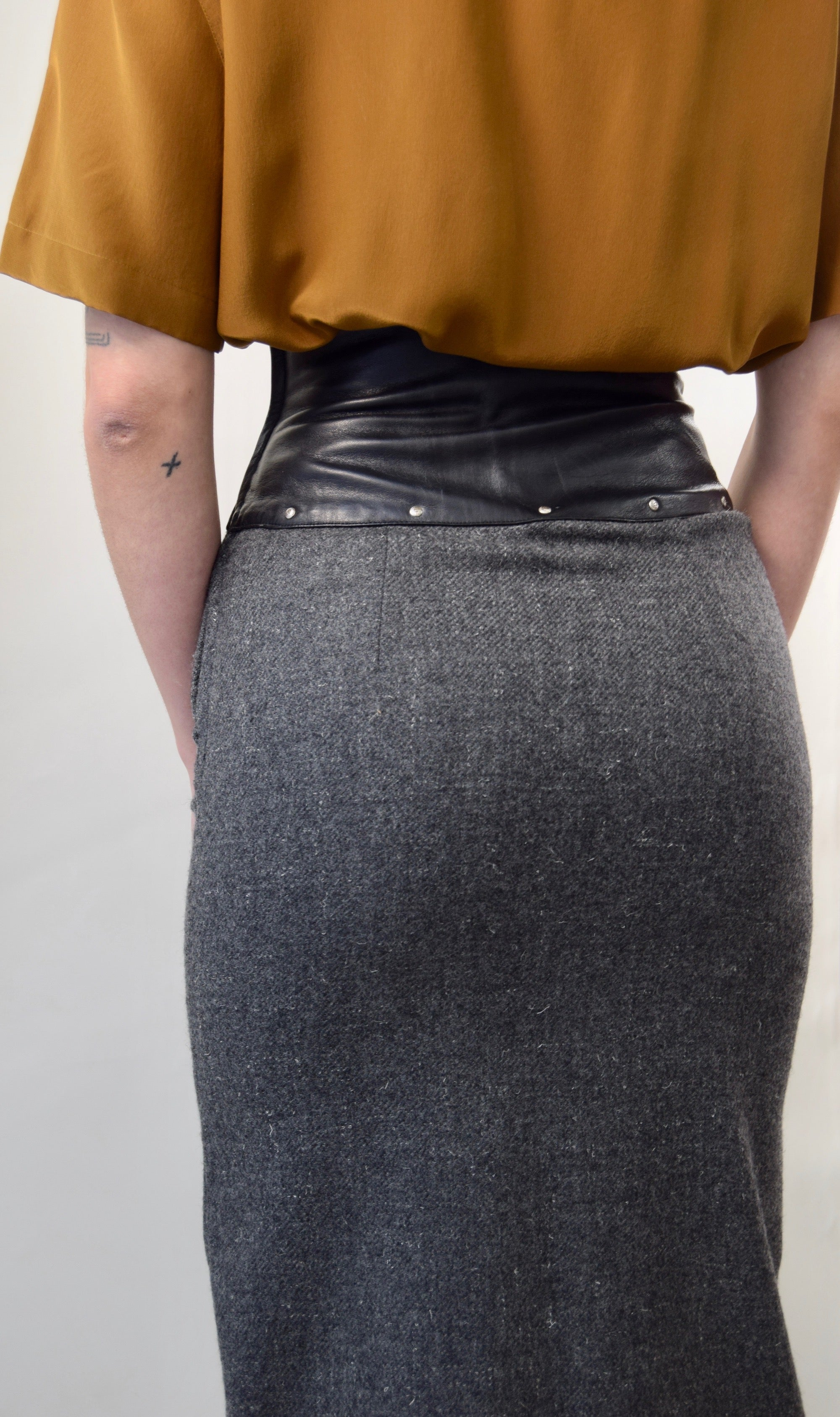 Italian Made Leather and Wool Pencil Skirt