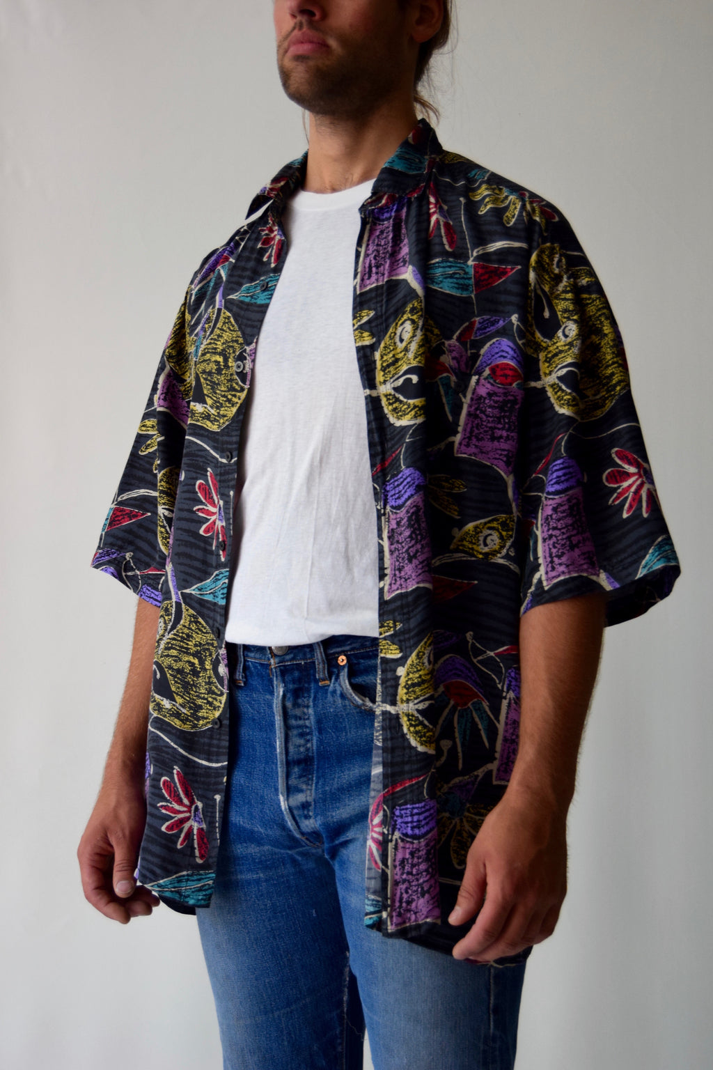 Vintage Men's Abstract Floral Silk Button Up Shirt
