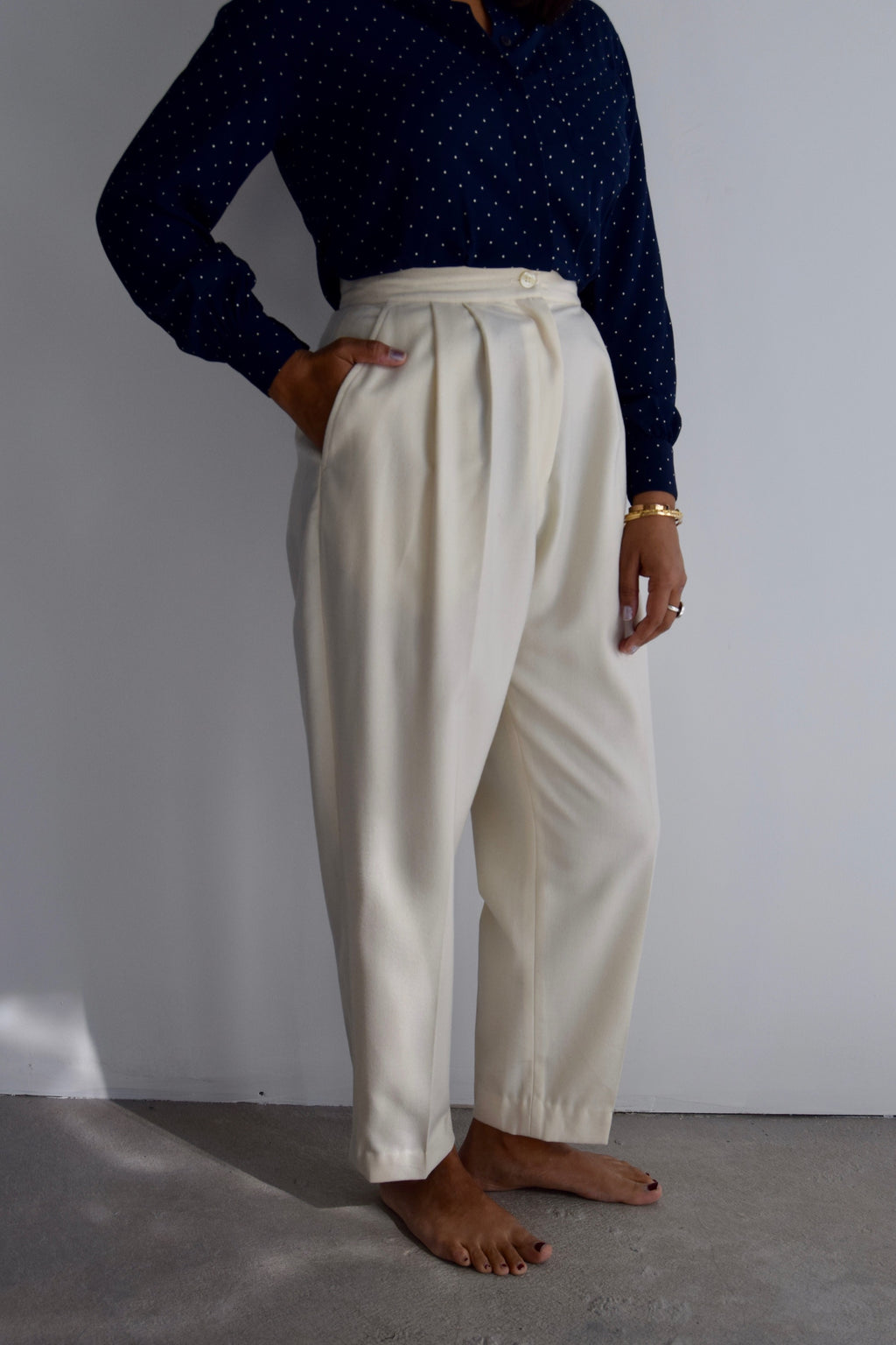 Vintage Alabaster Wool Trousers