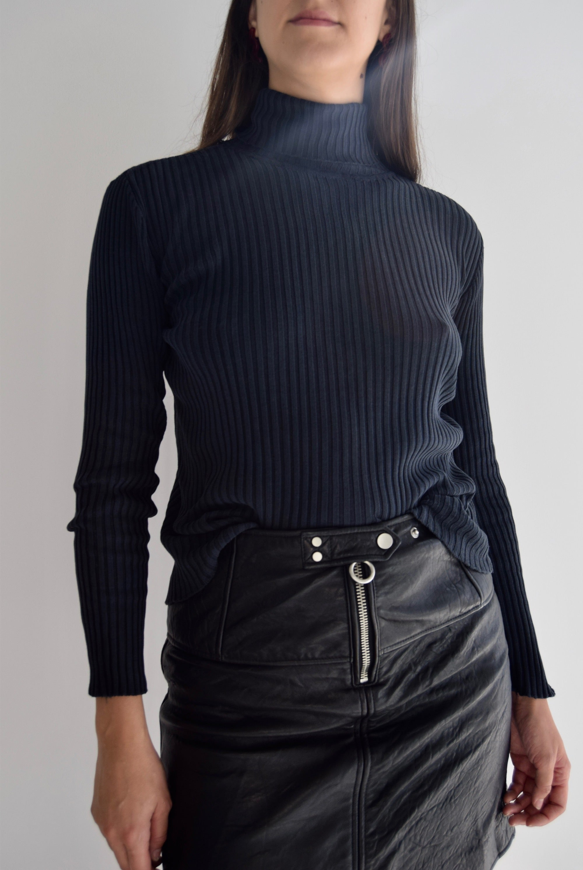 Anchor Black Silk Ribbed Turtleneck Sweater