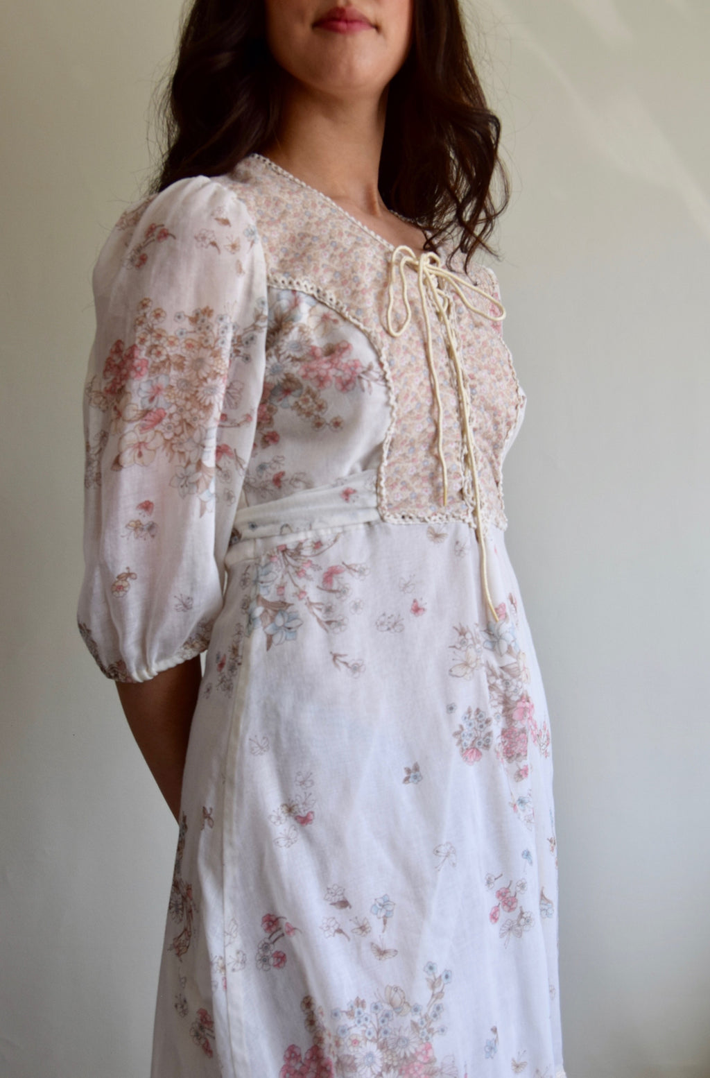Vintage 1970's Butterfly and Wildflower Dress