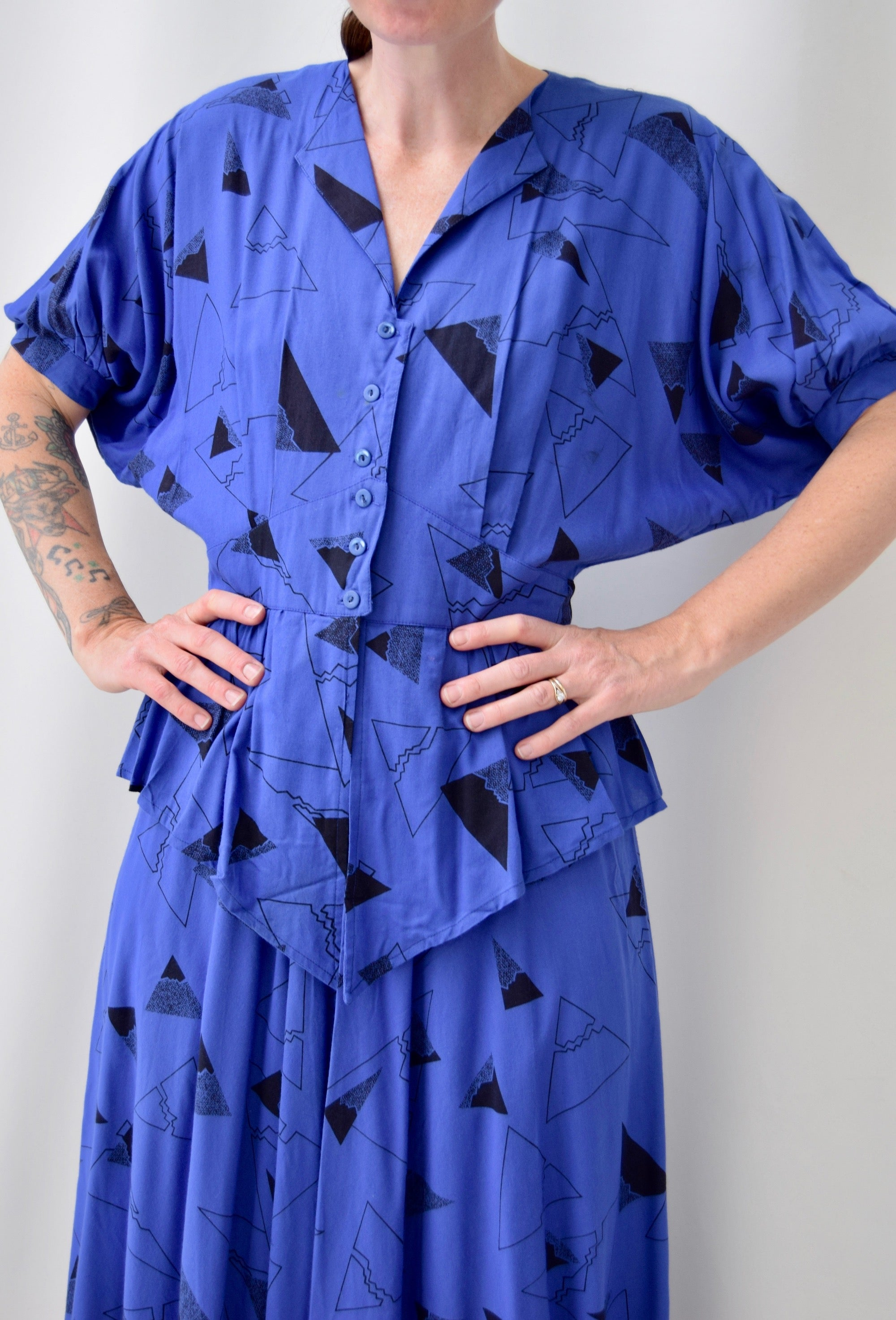 Abstract 80's Periwinkle Dress