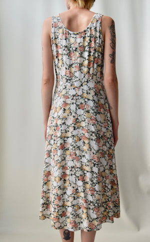 Muted 90's Floral Rayon Tank Dress