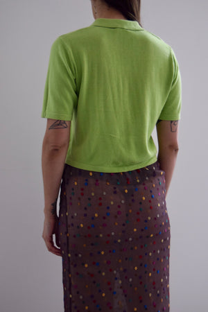 Chartreuse Green Collared Button Up Sweater Top