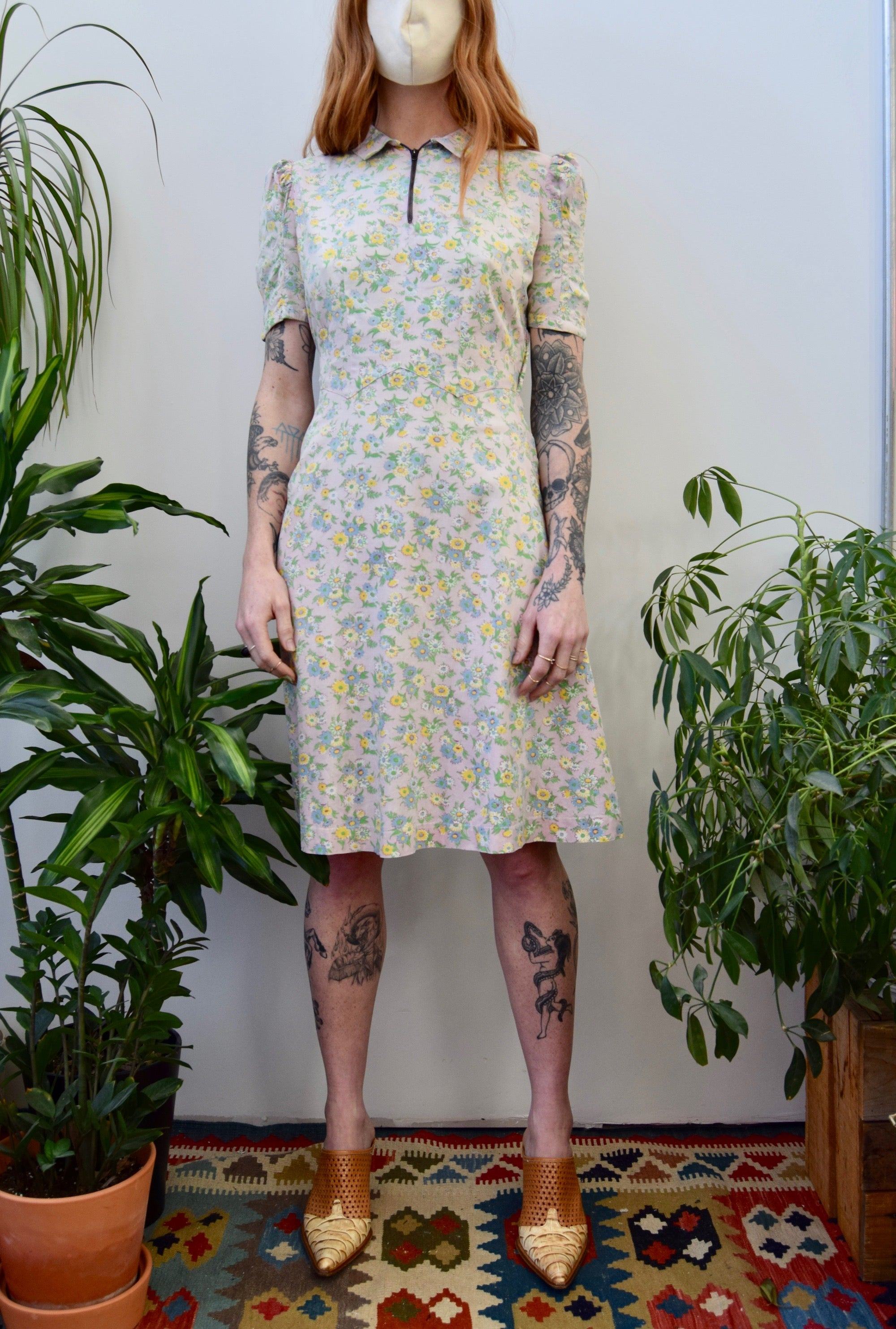 Forties Feedsack Cotton Dress