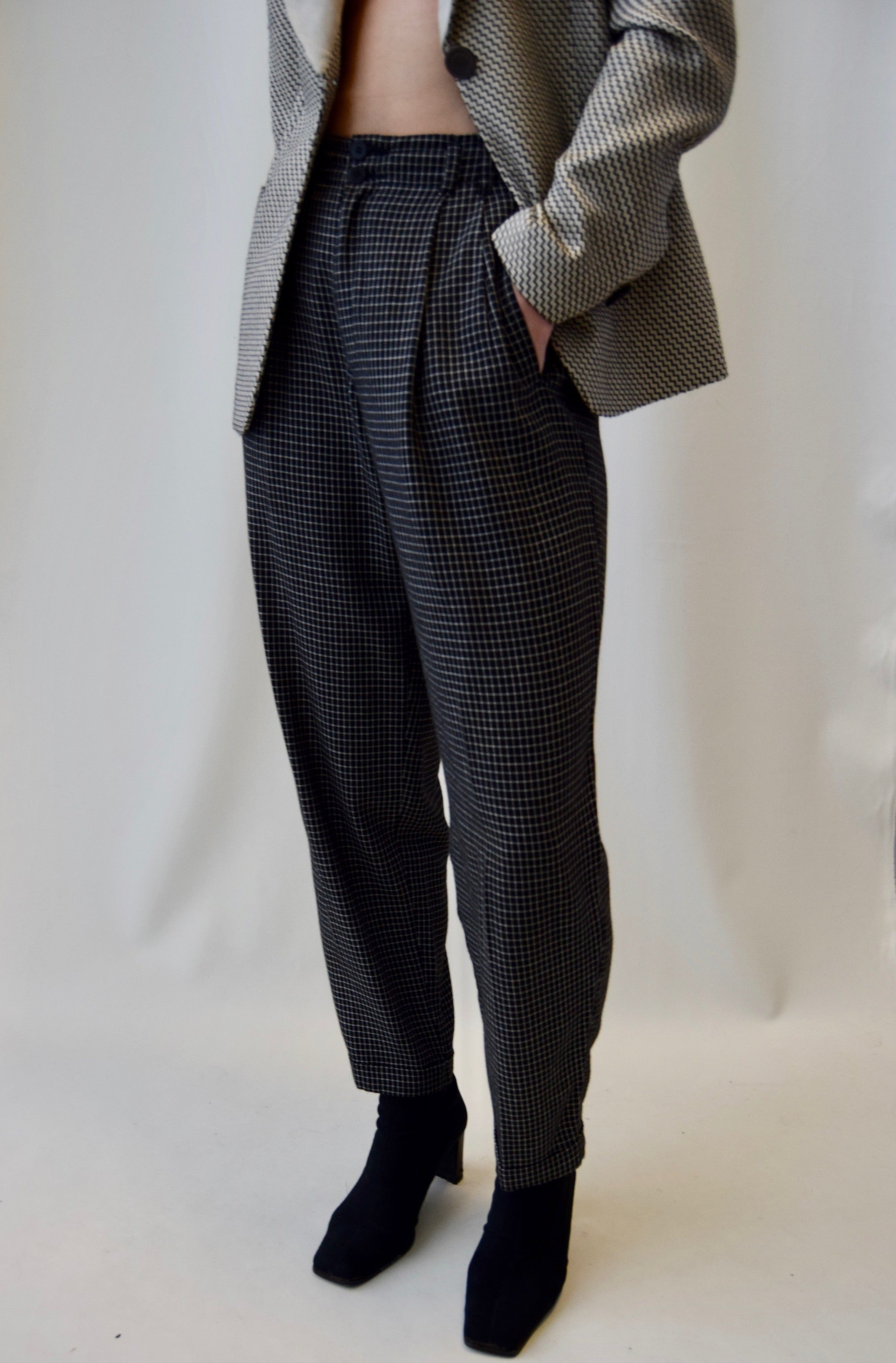 Black & White Grid Patterned Rayon Trousers FREE SHIPPING TO THE U.S.