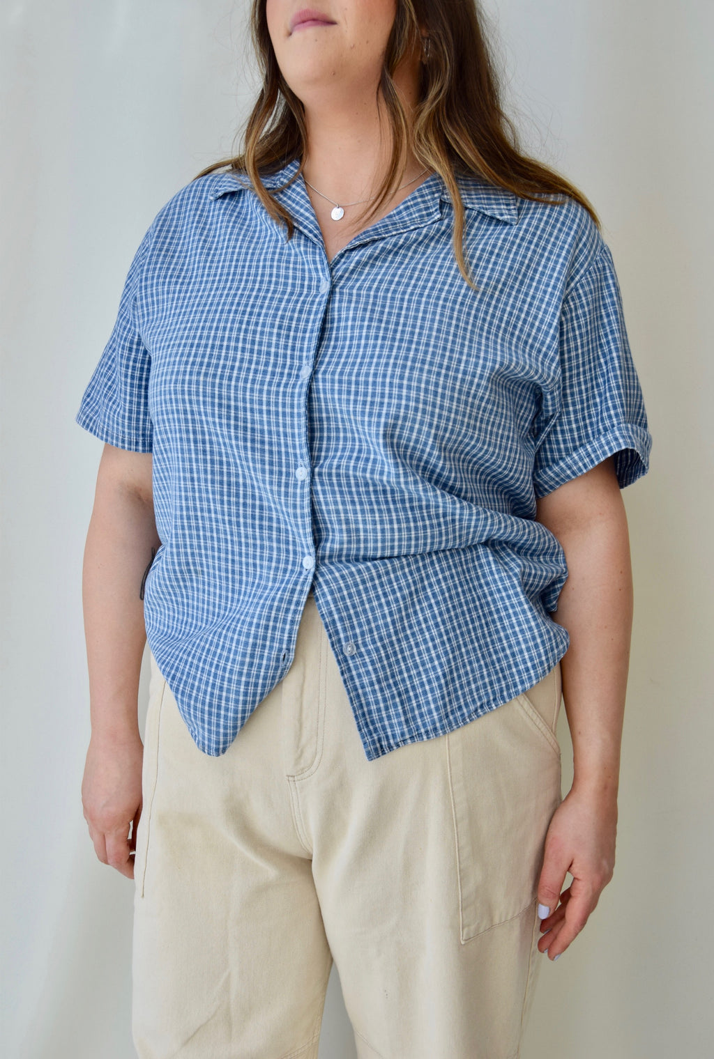 90's Blue Cotton Plaid Top