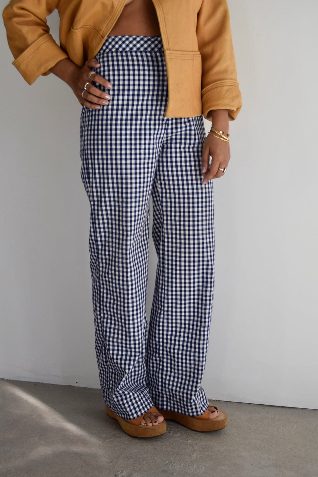 Vintage Gingham Wide Leg Pants FREE SHIPPING TO THE U.S.