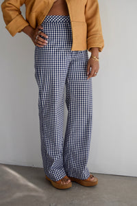 Vintage Gingham Wide Leg Pants